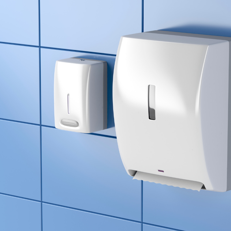 Dispensers for sanitisers, hand soaps and paper hygiene