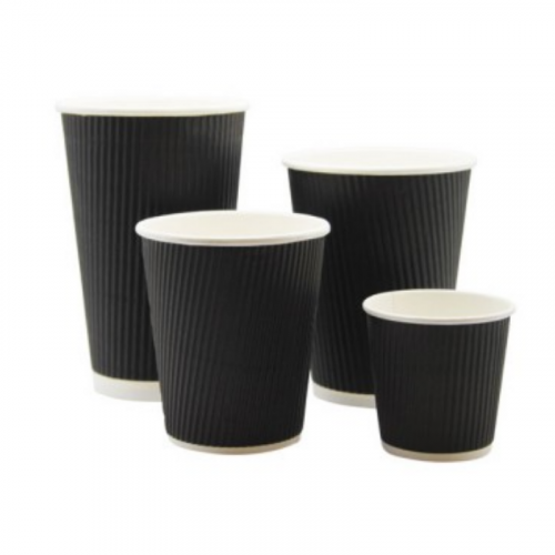 8oz Black Ripple Coffee Cups