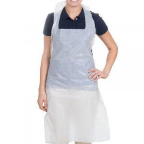 white polythene aprons on a roll