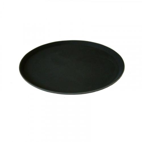 "11"" black round non slip tray"