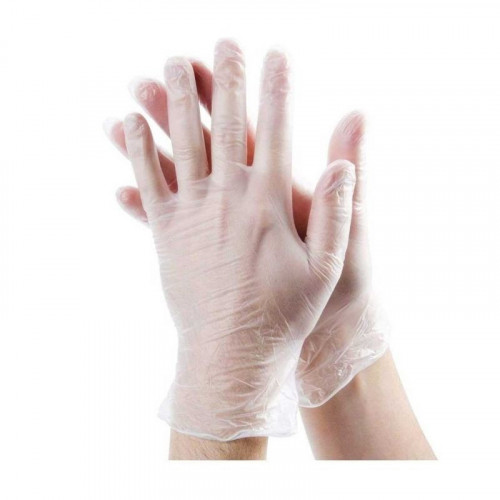 medium clear unpowdered vinyl glove