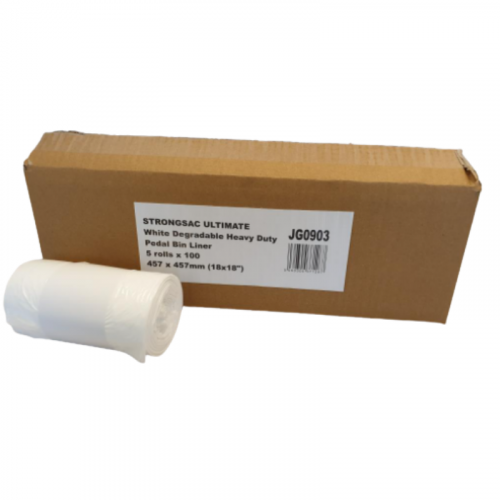 "White Heavy Duty Pedal Bin Liner On a Roll 11"" x 18"" x 18"""