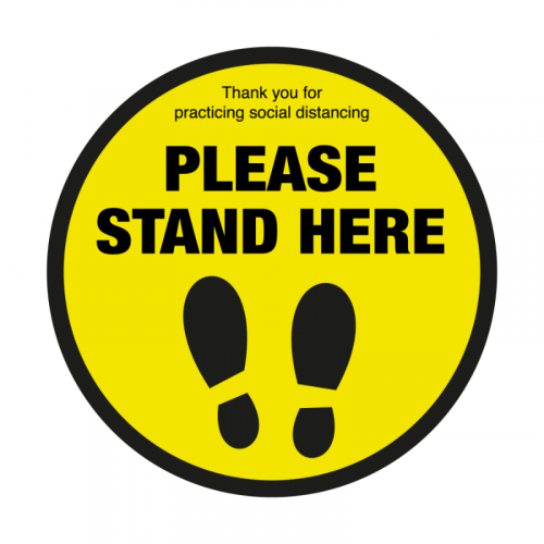 400mm 'Please Stand Here' Floor Graphic