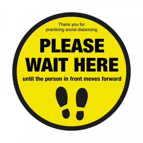 200mm 'Please Wait Here' Floor Graphic SD007