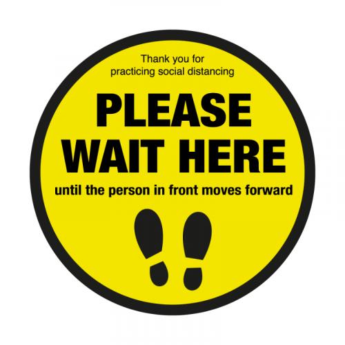 200mm 'Please Wait Here' Floor Graphic SD007