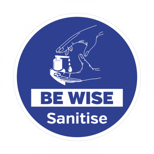400mm 'Be Wise Sanitise' Floor Graphic SD129