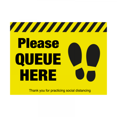 400mm 'Please Queue Here' with Symbol Floor Graphic SD040