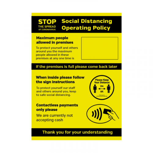 A3 Size Social Distancing Operating Policy SD051